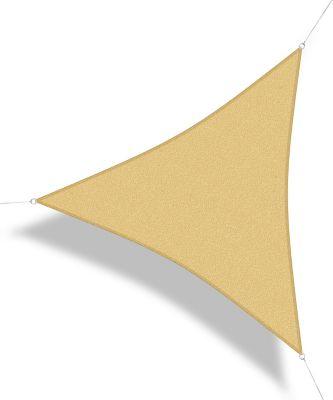 COR10TR4-SB Premium Sonnensegel, 4 x 4 x 4 m, Dreieck, wind- & wasserdurchlässig, sandbeige