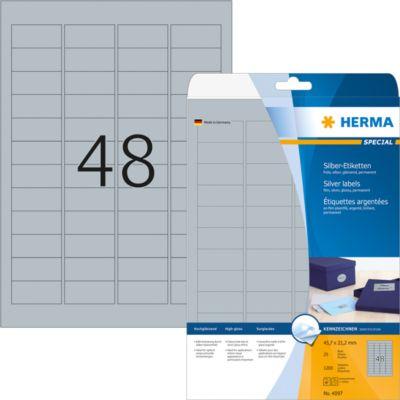 HERMA Etiketten A4 silber 45.7x21.2 mm Folie glänz. 1200 St.