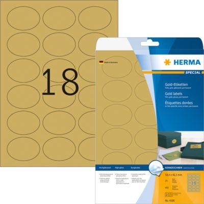 HERMA Etik. A4 gold 58.4x42.3 mm oval Folie glänzend 450 St.