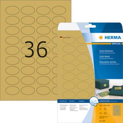 HERMA Etik. A4 gold 40.6x25.4 mm oval Folie glänzend 900 St.