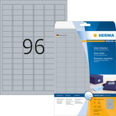 HERMA Etiketten A4 silber 30.5x16.9 mm Folie glänz. 2400 St.