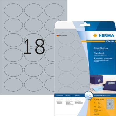 HERMA Etik. A4 silber 58.4x42.3 mm oval Folie glänz. 450 St.