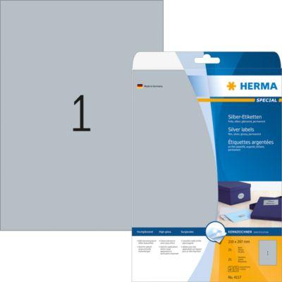 HERMA Etiketten A4 silber 210x297 mm Folie glänz. 25 St.