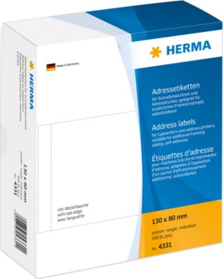 HERMA Adressetiketten einzeln weiß 130x80 mm Papier 500 St.