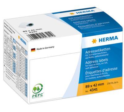 HERMA Adressetik. auf Rollen weiß 89x42 mm Papier 250 St.