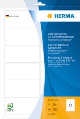 HERMA Adressetik. 94x47 mm Papier matt Ecken rund 240 St.