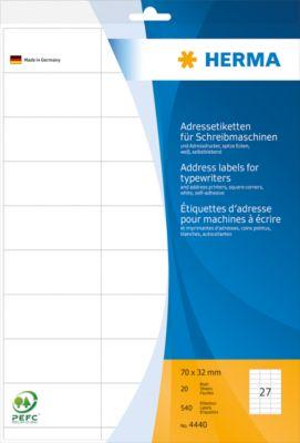 HERMA Adressetik. 70x32 mm Papier Ecken spitz 540 St.