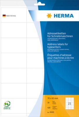 HERMA Adressetik. 70x42 mm Papier Ecken spitz 420 St.