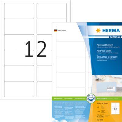 HERMA Adressetiketten A4 weiß 88.9x46.6 mm Papier 1200 St.