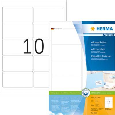 HERMA Adressetiketten A4 weiß 96x50.8 mm Papier 1000 St.