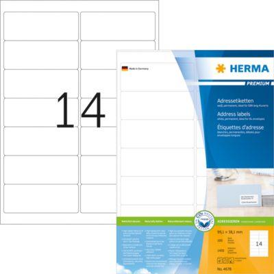 HERMA Adressetiketten A4 weiß 99.1x38.1 mm Papier 1400 St.