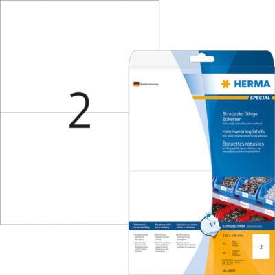 HERMA Etik. strapazierf. A4 weiß 210x148 mm Folie 50 St.