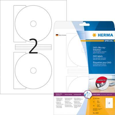 HERMA DVD-/Blu-ray-Etiketten A4 weiß 116 mm Folie 50 St.