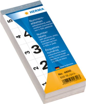 Nummernblock selbstklebend 1-500 weiß 28x56 mm