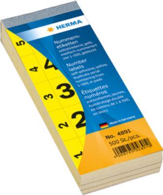 Nummernblock selbstklebend 1-500 gelb 28x56 mm
