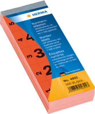 Nummernblock selbstklebend 1-500 rot 28x56 mm