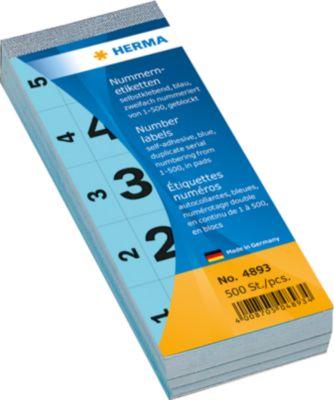Nummernblock selbstklebend 1-500 blau 28x56 mm