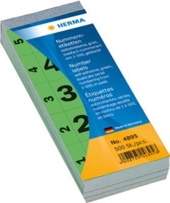 Nummernblock selbstklebend 1-500 grün 28x56 mm