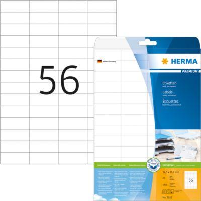 HERMA Etiketten A4 weiß 52.5x21.2 mm Papier matt 1400 St.