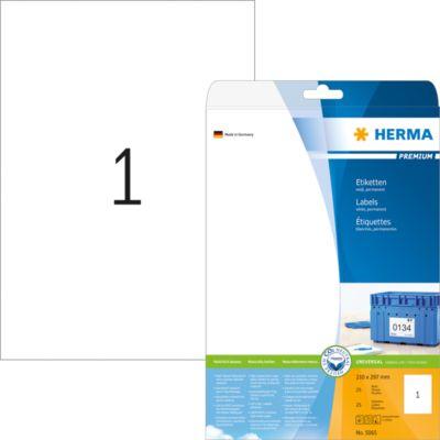 HERMA Etiketten Premium A4 weiß 210x297 mm Papier 25 St.