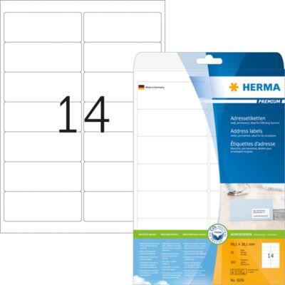 HERMA Adressetiketten A4 weiß 99.1x38.1 mm Papier 350 St.