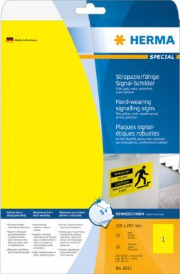 HERMA Signal-Schilder A4 210x297 mm gelb Folie 25 St.
