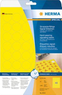 HERMA Signal-Etiketten A4 30 mm gelb Folie 1200 St.