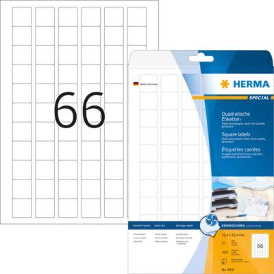 HERMA Inkjet-Etiketten A4 weiß 25.4x25.4 mm Papier 1650 St.