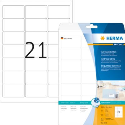 HERMA Inkjet Adressetik. A4 weiß 63.5x38.1 mm Papier 525 St.