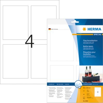 HERMA Flaschenetik. A4 Inkjet weiß 90x120 mm glänz. 40 St.