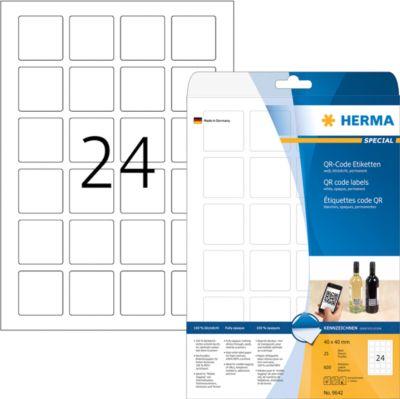 HERMA QR-Code Etik. A4 40x40 mm quadratisch wei...