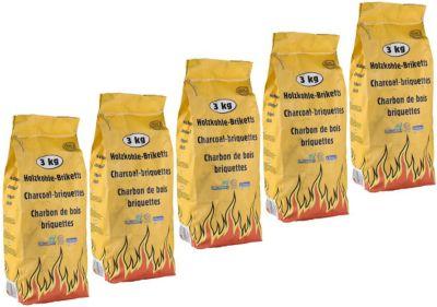 15 Kg Premium Holzkohle Grillbriketts Grillkohle 5 x 3 Kg