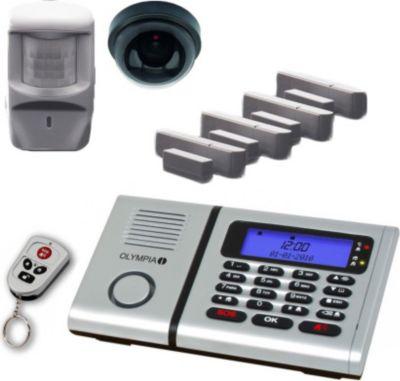 Olympia  6061 Drahtloses Alarmanlagen Überwachungs-Set mit 1 Deckenkamera-Attrappe, Bewegungsmelder, Tür/Fensterkontakten und 1 Fernbedienung