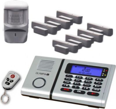Olympia  Sicherheit Plus Drahtloses Alarmanlagen-Set 6061 mit 7 Tür/Fensterkontakten, Notruf- und Freisprechfunktion und Integrierter Telefonwähleinhei