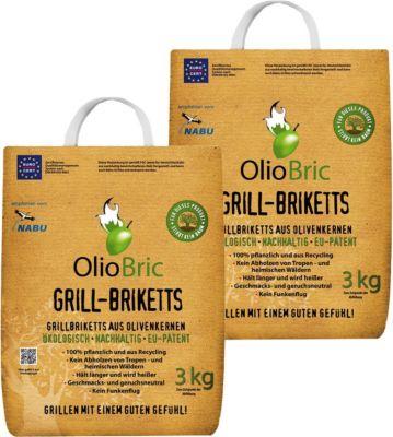 6 kg Olio Bric Grill-Brikett Grillkohle Olivenkernbriketts