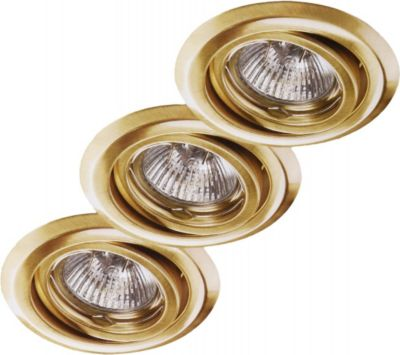 3er Set Halogen Einbauleuchten Downlights 3 x 20 Watt in Messing