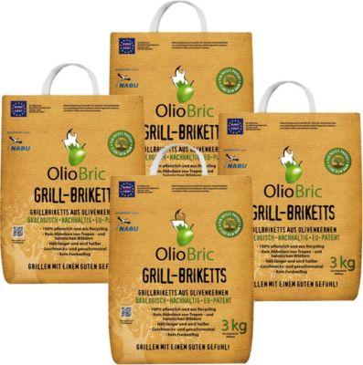 OlioBric 12 kg  Grill-Brikett Grillkohle Olivenkernbriketts