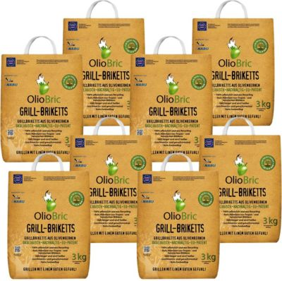 OlioBric 24 kg  Grill-Brikett Grillkohle Olivenkernbriketts