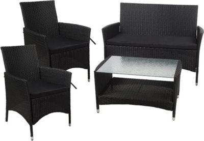 Outdoor Lounge Set Brasil, 7tlg. Polyrattan Schwarz