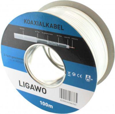 ® 6551201 Koax RG6 SAT BK Kabel 100m CU 3-fach geschirmt 120 dB