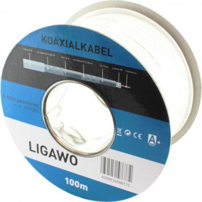 ® 6551202 Koax RG6 SAT BK Kabel 100m CU 4-fach geschirmt 120 dB
