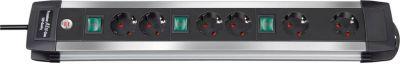 Steckdosenleiste 6-fach Premium-Alu-Line mit 3 Schaltern