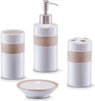Bad-Accessoires-Set, 4-tlg., beige/braun, Keramik
