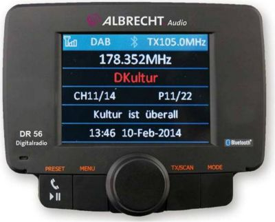 DR 56 Autoradio DAB+ Adapter mit Bluetooth Freisprechanlage, DAB/DAB+