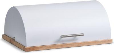 Brotkasten, Metall/Gummibaum, weiß, Größe in cm: 39x28x16,3