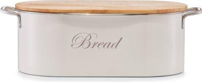 Brotkasten ´´Vintage´´ aus Metall mit Holzdeckel, Creme, 36x20,5x13,5 cm