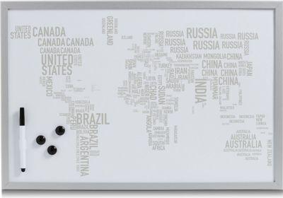 Magnet- und Schreibtafel World Letters, alugrau, 60 x 40 cm