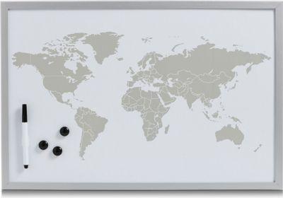 Magnet- und Schreibtafel World, alugrau, 60 x 40 cm
