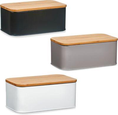 Brotkasten mit Bambus Deckel, Metall, 31x18x12,5 cm verschiedene Farben Farbe: weiß
