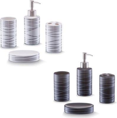 Bad-Accessoires-Set, 4-tlg., Keramik weiß oder schwarz erhältlich Farbe: weiß